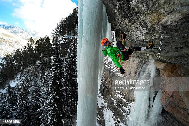 Professional climber Will Mayo climbs the very difficult Stratofortress in the Vail amphitheater near Vail Colorado on January 20 2015 Mayo was the...