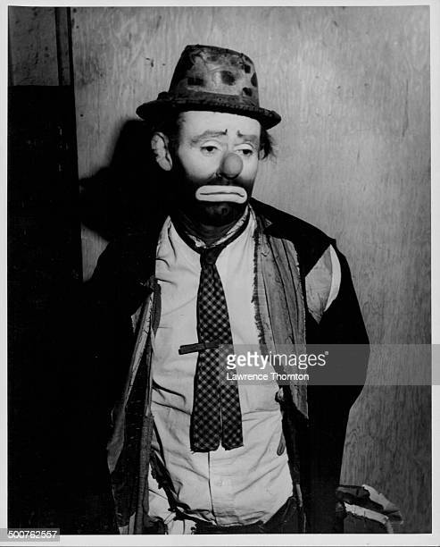 Professional clown Emmett Kelly wearing his 'Weary Willie' makeup at the Ringling Bros and Barnum Bailey Circus circa 19421954