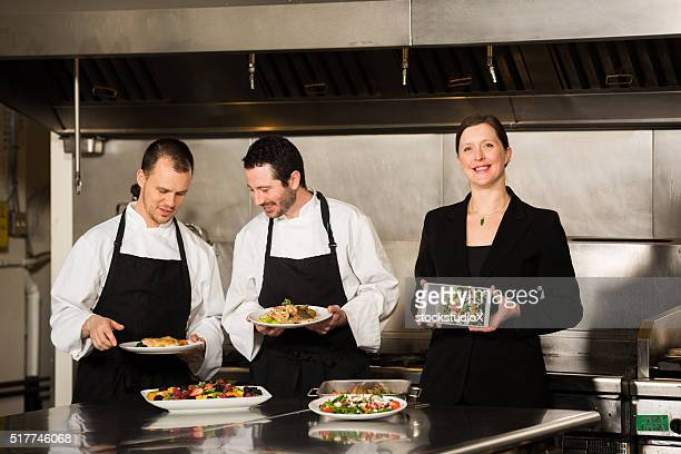 Professional culinary team in the kicthen