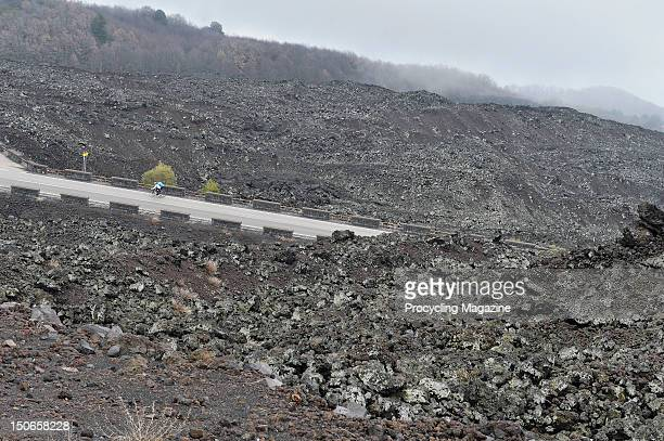 Professional cyclist Marco Pinotti and journalist Herbie Sykes ride the 9th stage of the Giro d'Italia, Mount Etna, Sicily, March 22, 2011.