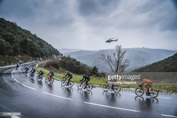 Professional cyclists competing in the Classic Sud-Ardeche road race in south-eastern France, on February 29, 2020.
