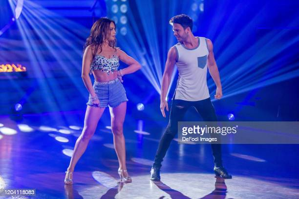 professional dancer Christina Luft and musicer Luca Haenni looks on during the 1st show of the 13th season of the television competition Let's Dance...
