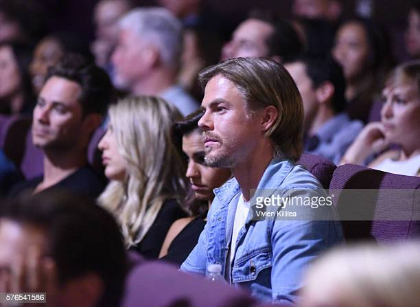 Professional dancer Derek Hough attends the celebration of the release of Joe Berlinger / Tony Robbins documentary I Am Not Your Guru now available...