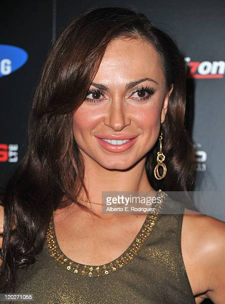 Professional dancer Karina Smirnoff arrives to the Samsung and Verizon Launch of The Samsung Galaxy Tab 101 on August 2 2011 in West Hollywood...