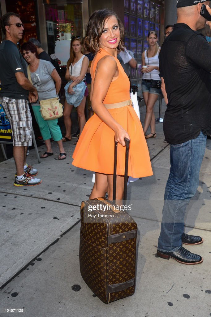 Professional dancer Karina Smirnoff leaves Planet Hollywood Times Square on September 4, 2014 in New York City.