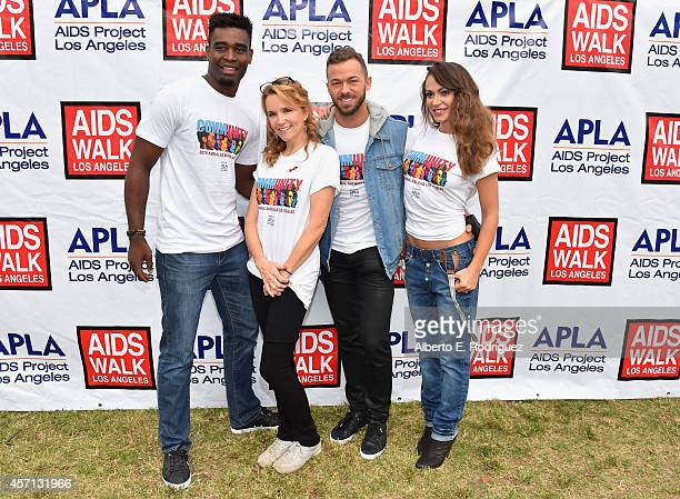 Professional dancer Keo Motsepe actress Lea Thompson and professional dancers Artem Chigvintsev and Karina Smirnoff attend the 30th Annual AIDS Walk...