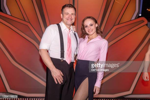 professional dancer Marta Arndt and Martin Klempnow looks on during the 1st show of the 13th season of the television competition Let's Dance on...