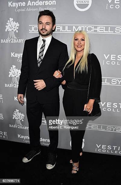 Professional dancer Matthew Rutler and recording artist Christina Aguilera attends the 5th Annual Baby2Baby Gala at 3LABS on November 12 2016 in...