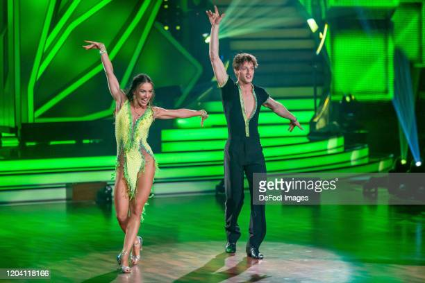 professional dancer Renata Lusin and Moritz Hans looks on during the 1st show of the 13th season of the television competition Let's Dance on...