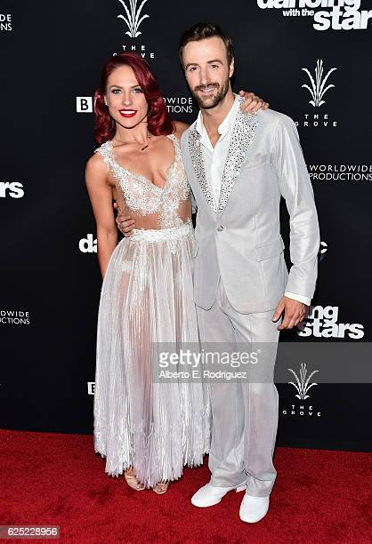 Professional dancer Sharna Burgess and professional race car driver James Hinchcliffe attends ABC's 'Dancing With The Stars' Season 23 Finale at The...