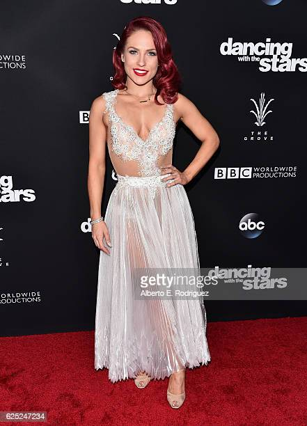 "Professional dancer Sharna Burgess attends ABC's ""Dancing With The Stars"" Season 23 Finale at The Grove on November 22, 2016 in Los Angeles,..."