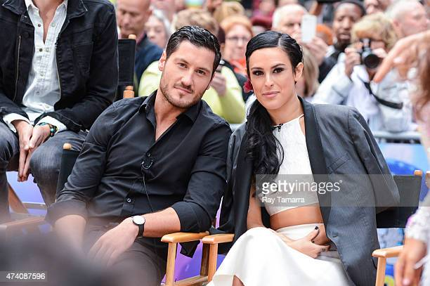 Professional dancer Valentin Chmerkovskiy and actress Rumer Willis tape an interview at Good Morning America at ABC Times Square Studios on May 20...