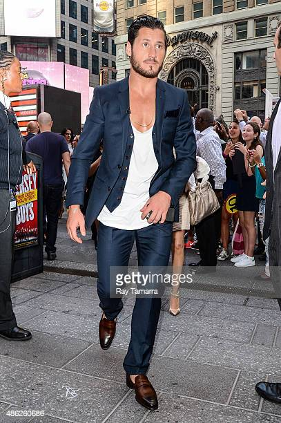 Professional dancer Valentin Chmerkovskiy leaves the Good Morning America taping at the ABC Times Square Studios on September 2 2015 in New York City