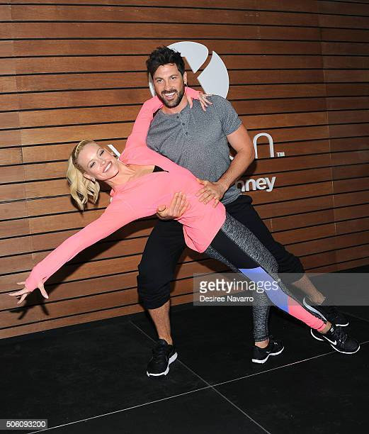 Professional dancers and TV personalities Maksim Chmerkovskiy and Peta Murgatroyd teach shoppers dance moves to help keep active fit at JCPenney on...