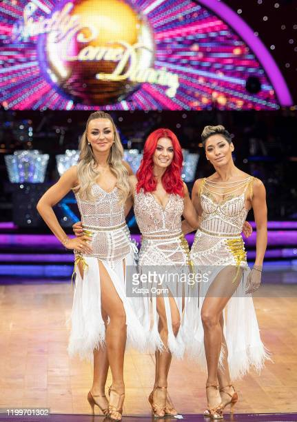 Professional dancers Luba Mushtuk Dianne Buswell and Karen Hauer during the Strictly Come Dancing Arena Tour 2020 photocall at Arena Birmingham on...
