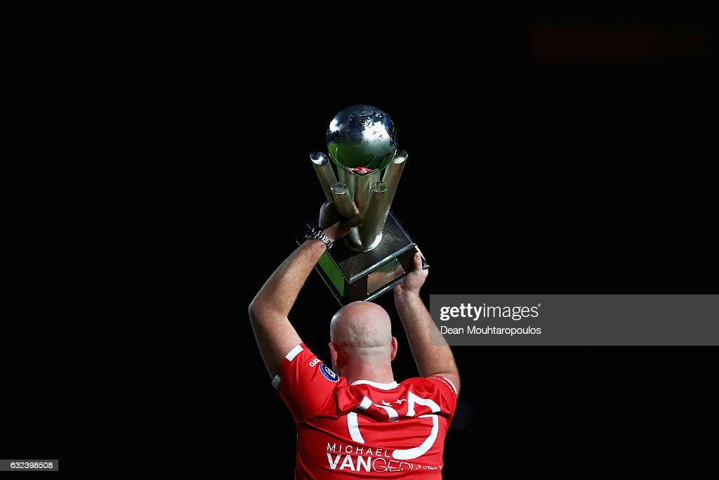 Professional Darts Corporation or the PDC World Champion, Michael van Gerwen of the Netherlands is given a PSV shirt for his world championship victory at half time during the Dutch Eredivisie match between PSV Eindhoven and SC Heerenveen held at Philips Stadion on January 22, 2017 in Eindhoven, Netherlands.