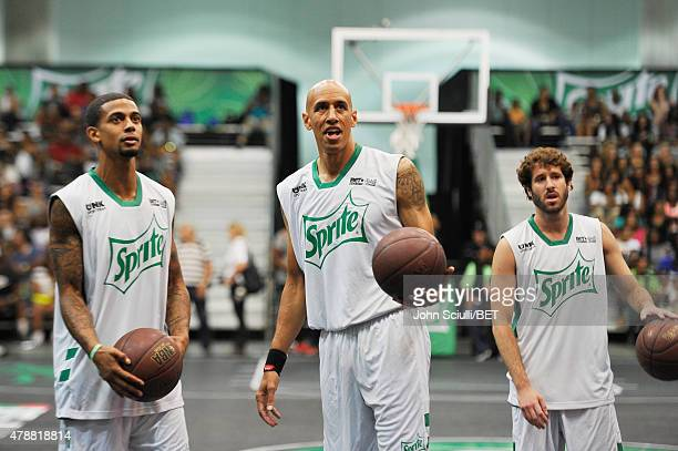 Professional dunker Guy Dupuy former NBA player Doug Christie and rapper Lil Dicky participate in the Sprite celebrity basketball game during the...