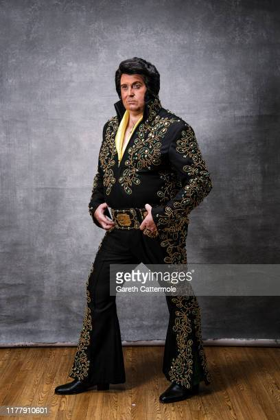 Professional Elvis tribute artist Lee Newsome from Oldham poses during a portrait session at 'The Elvies' on September 28, 2019 in Porthcawl, Wales....