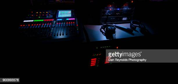 professional equipment for digital recording, broadcasting, tv editing, and lighting equipment - post-production stock pictures, royalty-free photos & images