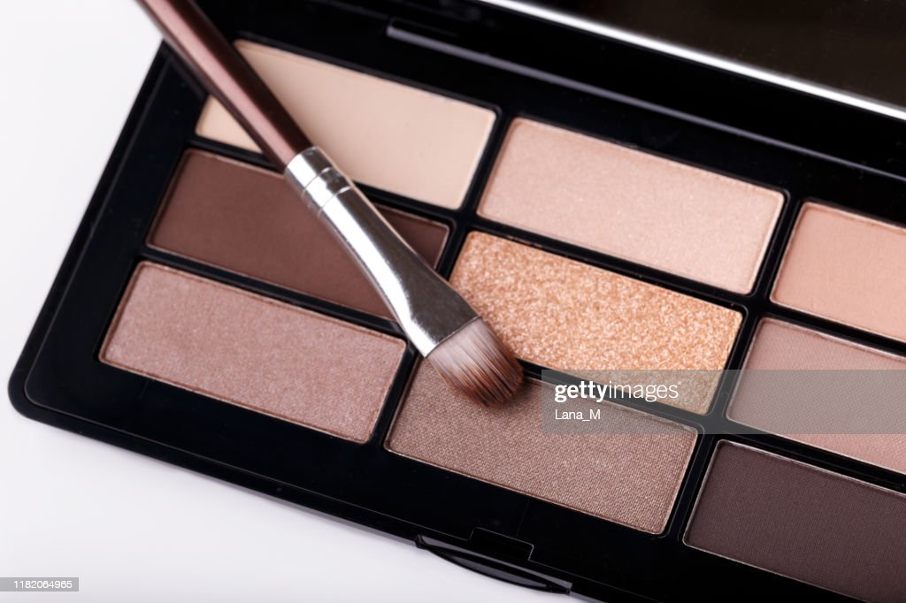 Professional eye shadow brown pastel palette : Stock Photo