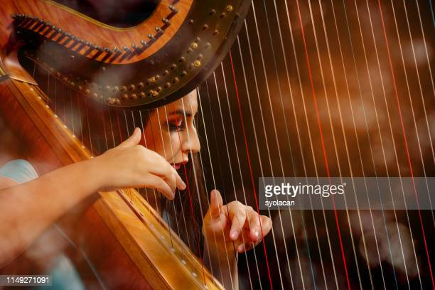 Professional female harpist during performance