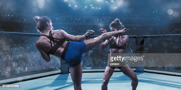 professional female mixed martial arts fighters fighting in octagon - combat sport stock pictures, royalty-free photos & images