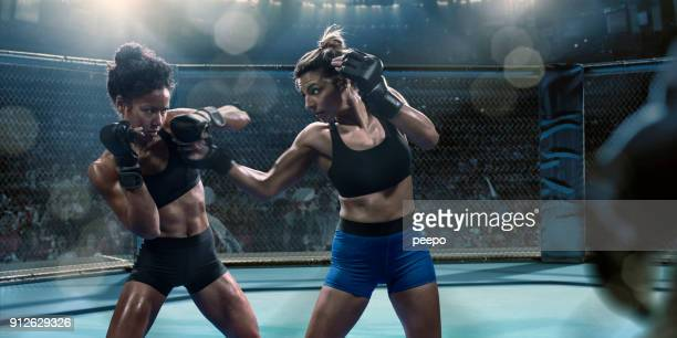 professionele vrouwelijke mixed martial arts fighters gooien stoten in octagon - mixed martial arts stockfoto's en -beelden