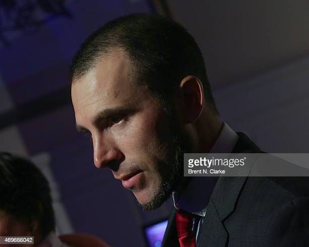 Professional figure skater Michael Weiss speaks to the media during The 10th Annual Skating With The Stars Benefit Gala held at 583 Park Avenue on...