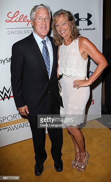 Professional football coach Pete Carroll and wife Glena Goranson attend the 2015 Sports Humanitarian of the Year Awards at the Conga Room at LA Live...