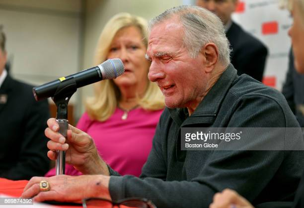 Professional Football Hall of Fame linebacker Nick Buoniconti cries as he announces he is pledging his brain to the Boston University CTE Center and...