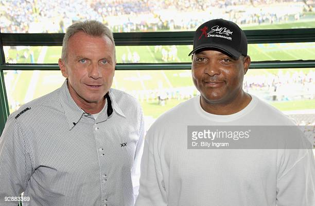 Professional Football Hall of Famer Joe Montana and Steve Clarkson make an appearance the UCLA Football Game at the Rose Bowl on November 7 2009 in...