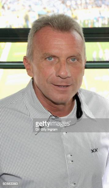 Professional Football Hall of Famer Joe Montana makes an appearance the UCLA Football Game at the Rose Bowl on November 7 2009 in Pasadena California