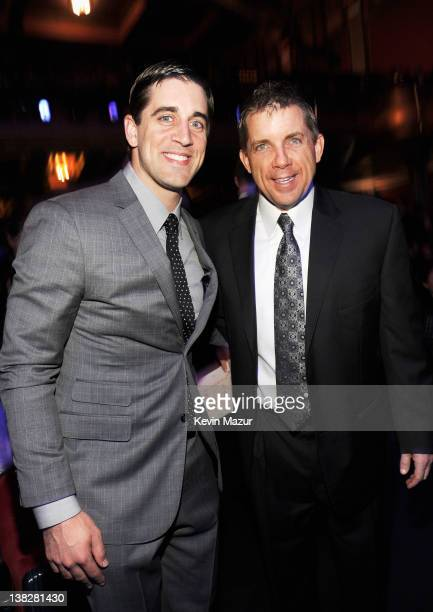 Professional Football Player Aaron Rodgers and Coach Sean Payton in the audience during the 2012 NFL Honors at the Murat Theatre on February 4 2012...
