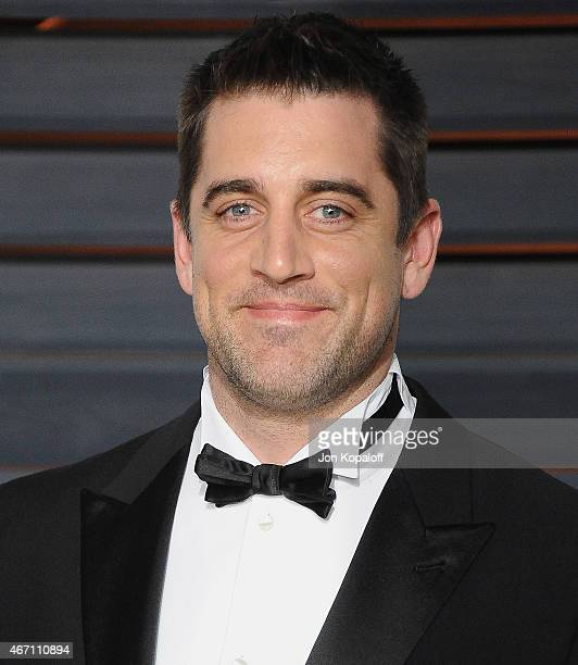 Professional football player Aaron Rodgers arrives at the 2015 Vanity Fair Oscar Party Hosted By Graydon Carter at Wallis Annenberg Center for the...