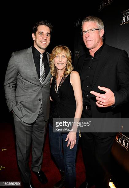 Professional football player Aaron Rodgers producer Maura Mandt and former professional football player Brett Favre attend the 2nd Annual NFL Honors...