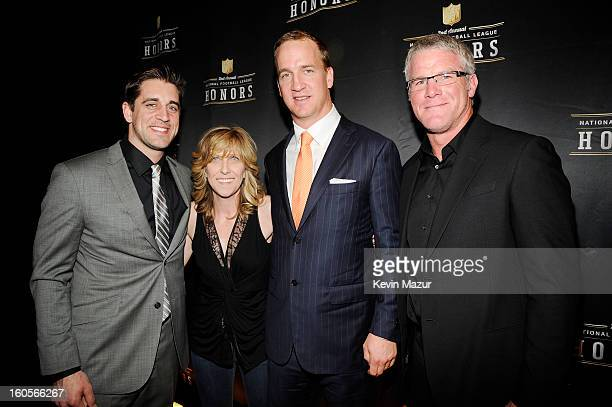 Professional football player Aaron Rodgers producer Maura Mandt professional football player Peyton Manning and former professional football player...