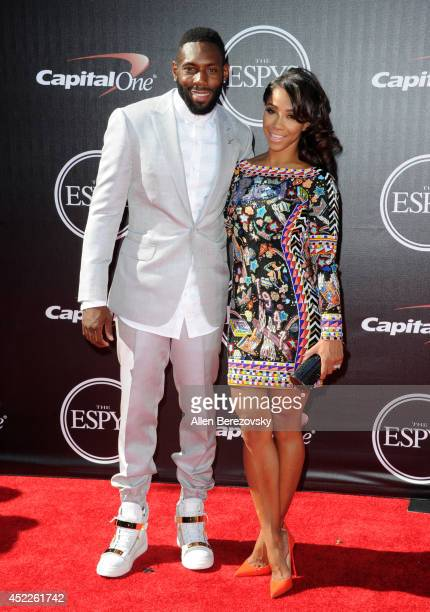 Professional football player Antonio Cromartie and Terricka Cason attendsthe 2014 ESPY Awards at Nokia Theatre LA Live on July 16 2014 in Los Angeles...