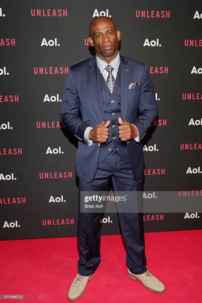 Professional football player Deion Sanders attends the AOL 2015 Newfront on April 28, 2015 in New York City.