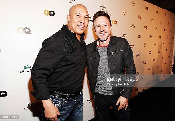 Professional football player Hines Ward and actor David Arquette attend GQ Lacoste And Patron Tequila Celebrate The Super Bowl In Indianapolis at The...