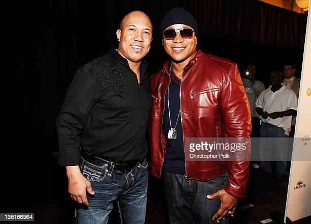 Professional football player Hines Ward and recording artist LL Cool J attend GQ Lacoste And Patron Tequila Celebrate The Super Bowl In Indianapolis...