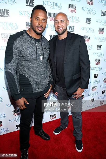 """Professional football player James Anderson and former professional football player Hank Baskett attend WE tv's premiere of """"Kendra On Top"""" and..."""