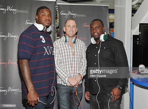 Professional football player Jeff Cumberland, Fanny Wang CEO Tim Hickman, and professional football player Shonn Greene attend Fanny Wang Headphone...