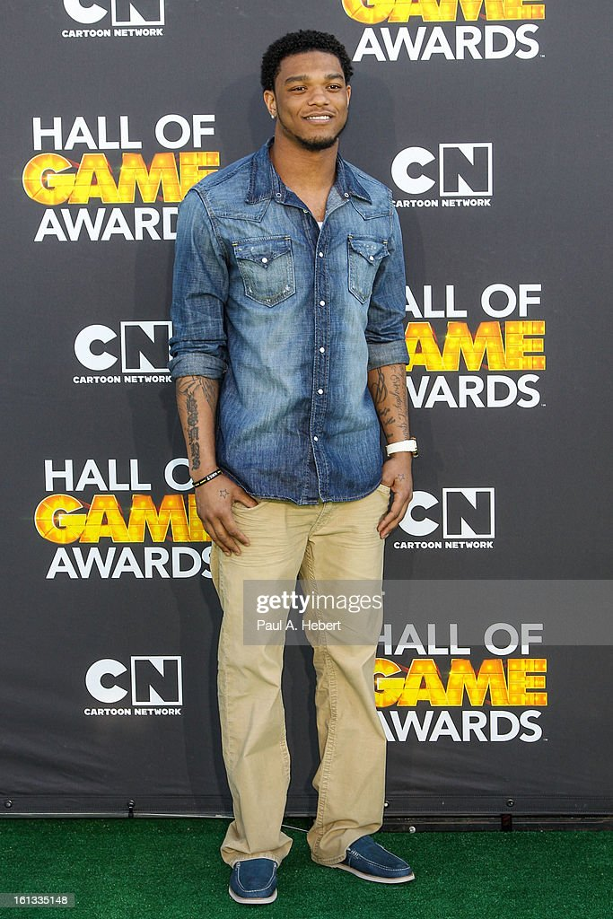 Professional football player Jimmy Smith arrives at the 3rd Annual Cartoon Network's 'Hall Of Game' Awards held at Barker Hangar on February 9, 2013 in Santa Monica, California.