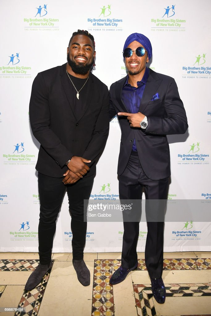Professional football player Landon Collins (L) and Nick Cannon attend the Big Brothers Big Sisters of NYC annual Casino Jazz Night at Cipriani 42nd Street on June 20, 2017 in New York City.