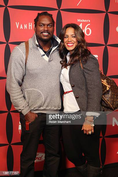 Professional football player LaVar Arrington and Trishia Arrington attend ESPN The Magazine's NEXT Event on February 3 2012 in Indianapolis Indiana