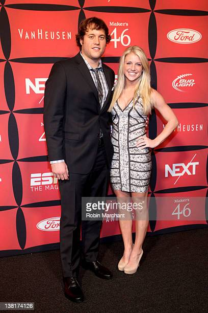 Professional football player Matthew Stafford and Kelly Hall attend ESPN The Magazine's NEXT Event on February 3 2012 in Indianapolis Indiana