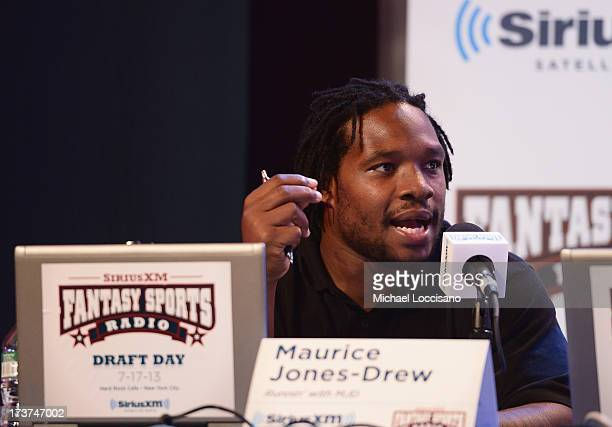 Professional Football player Maurice Jones-Drew attends the SiriusXM Celebrity Fantasy Football Draft at Hard Rock Cafe - Times Square on July 17,...