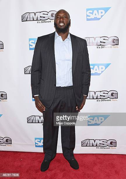Professional football player Muhammad Wilkerson attends MSG Networks Original Programming Party at Madison Square Garden on February 5 2015 in New...