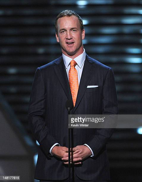 Professional Football Player Peyton Manning speaks onstage during the 2012 ESPY Awards at Nokia Theatre LA Live on July 11 2012 in Los Angeles...