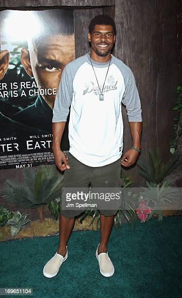 Professional football player Ramses Barden attends the 'After Earth' premiere at the Ziegfeld Theater on May 29 2013 in New York City